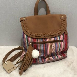 BoHo multicolor and leather backpack purse